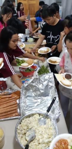 Stables: burgers, hotdogs and potato salad.