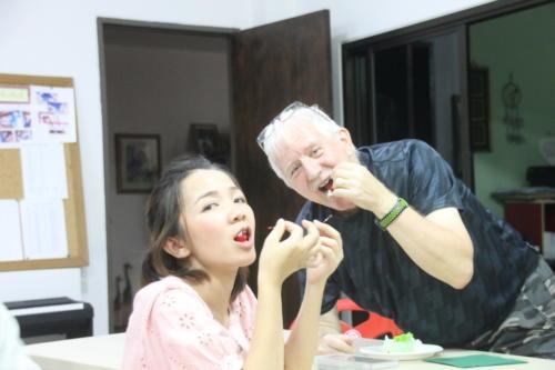 Sharing the cherries from the birthday cake.