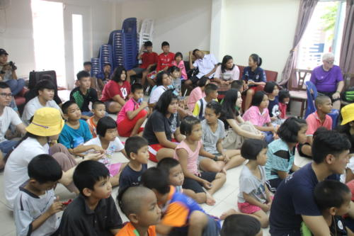 Sharing the Christian message with kids at the children's home.