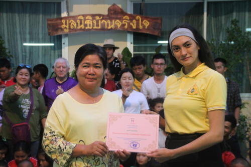 Certificate for Patti Rose a friend and celebrity in Thailand.