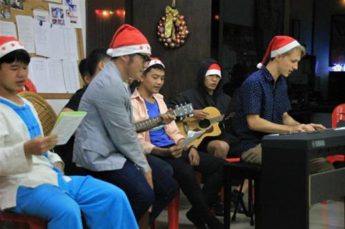 Asanee, Matthew, and our boys leading our worship time.