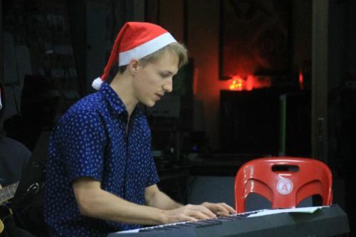 Matthew is multi-talented!  Leading on keyboard.