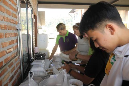 Distributing food for everyone.